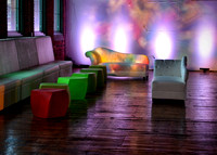 Couches at the Pop Art, Andy Warhol party
